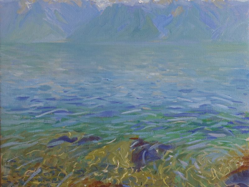 Oil painting of Lac Leman from St Saphorin in Switzerland. by Daniel J Yeomans