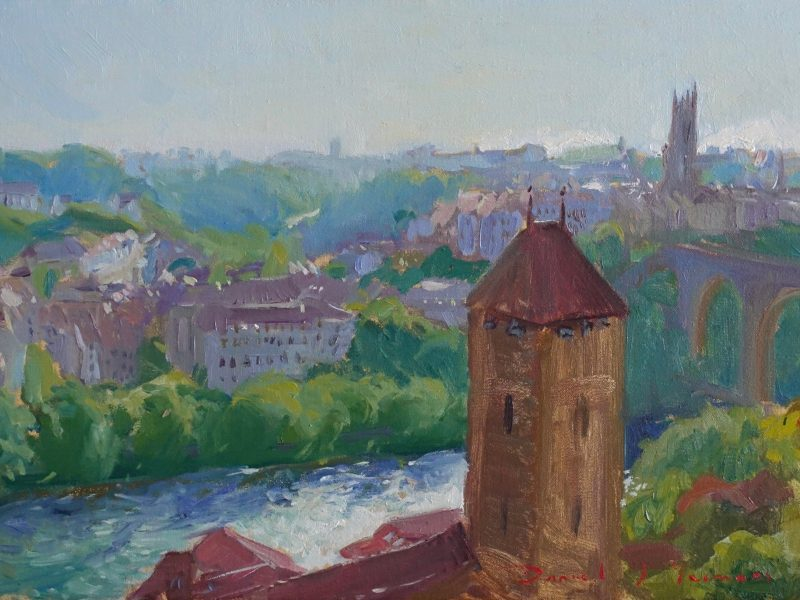 Oil painting of a Medieval tower and St Nicolas Cathedral Fribourg