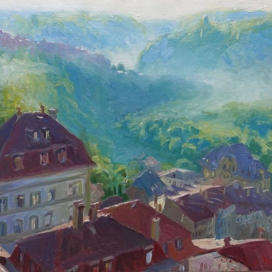 Oil painting looking over Fribourg in Switzerland with the early morning mist rising slowly