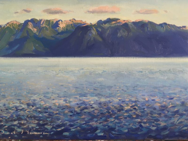 showing an oil painting by D J Yeomans of Lac Leman with evening light.