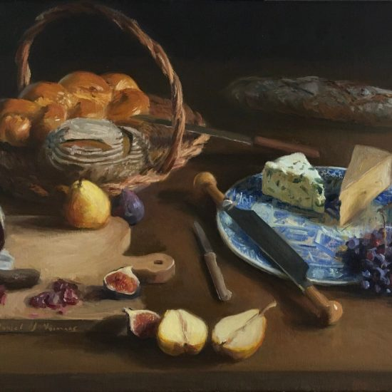 Still life painting with cheese