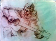 Scetch of Daniel w guitar by Andra