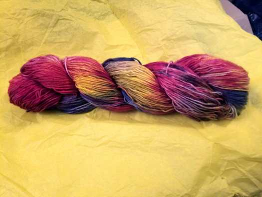 hand-dyed skein of sock yarn