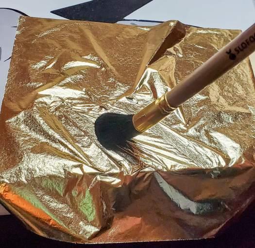gilding brush on gold leaf