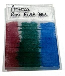 Arteza Real Brush Pens on Shrinky Dinks