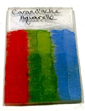 Caran d'Ache Aquarelle Pencils on shrinky dinks