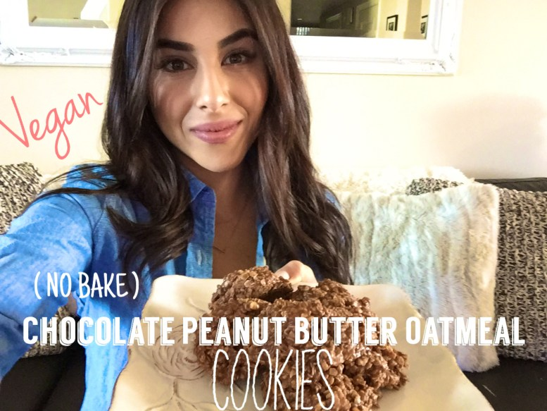 Vegan NO bake Chocolate Peanut Butter Oatmeal cookies
