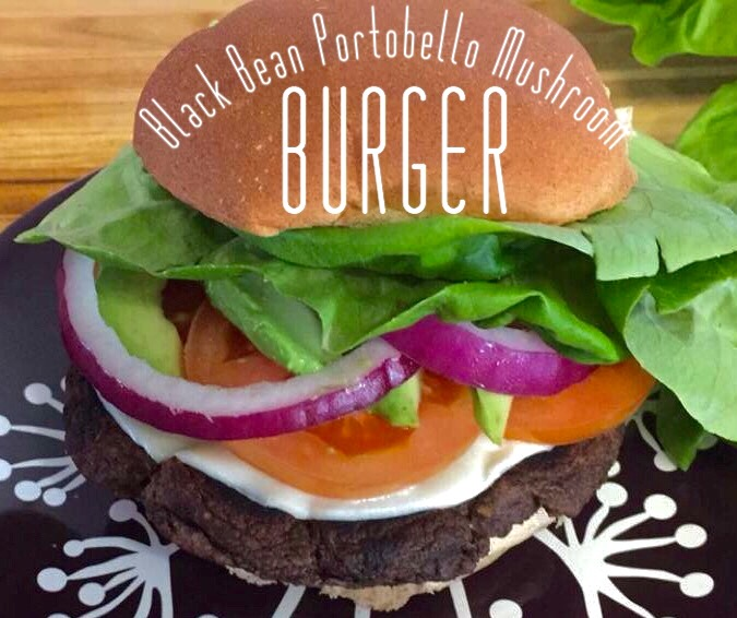 Black Bean Portobello Mushroom Burger #vegan