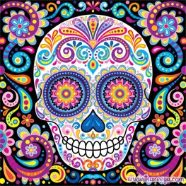 Cosmos-day-of-the-dead-skull-by-thaneeya