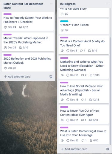 My Trello boards for the batch content