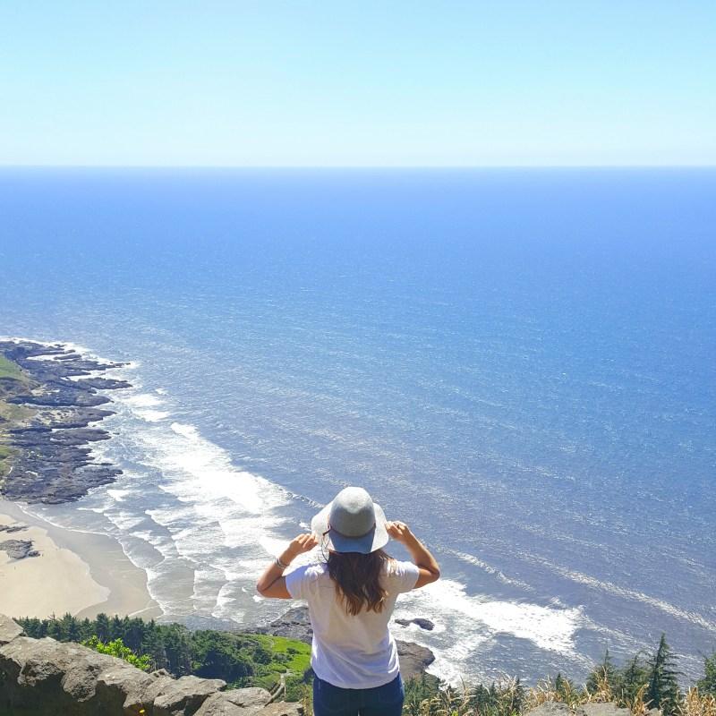 Oklahoma girl on Oregon Coast Cape Perpetua