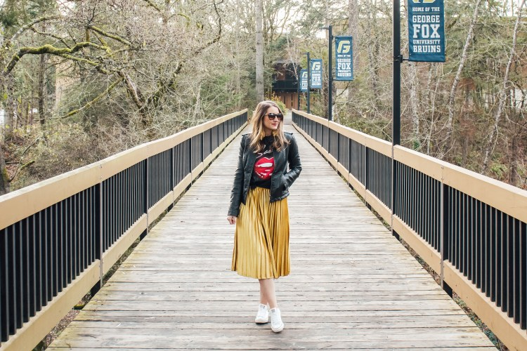 band tee leather jacket and gold skirt 1 - Danielle Comer Blog