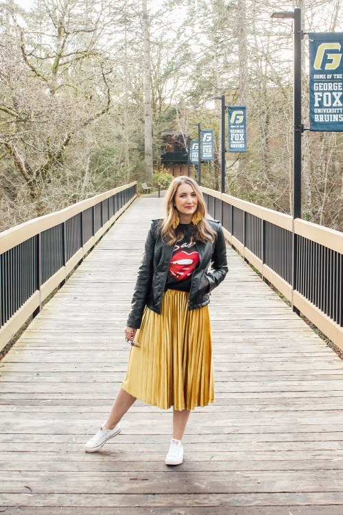 band tee leather jacket and gold skirt 2 - Danielle Comer Blog