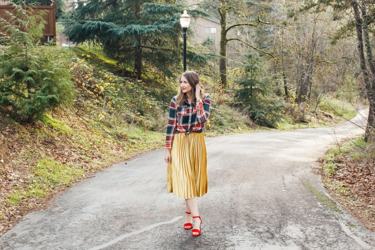 flannel and gold skirt 4 - Danielle Comer Blog