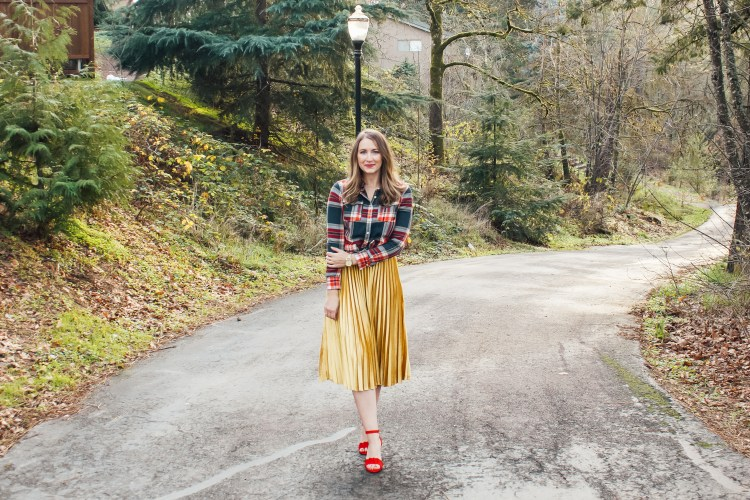 flannel and gold skirt 5 - Danielle Comer Blog