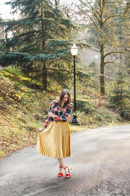 flannel and gold skirt 6 - Danielle Comer Blog