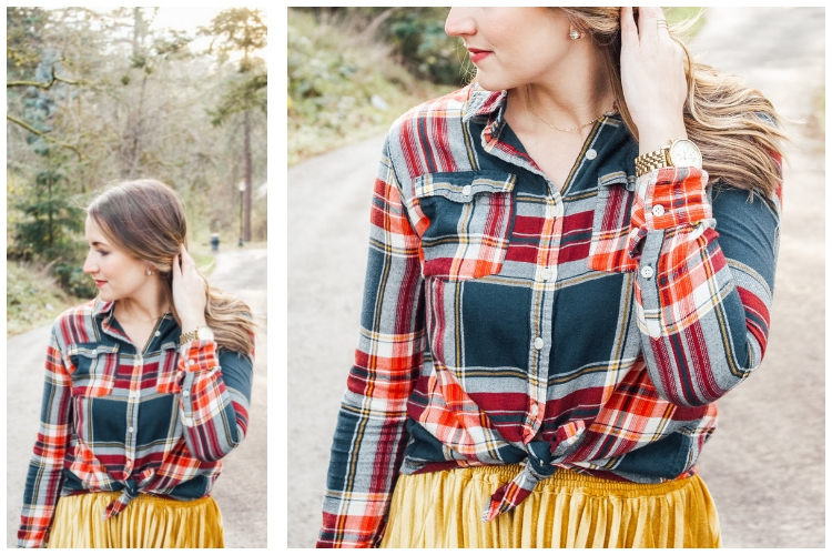 flannel and gold skirt details collage 2 - Danielle Comer Blog
