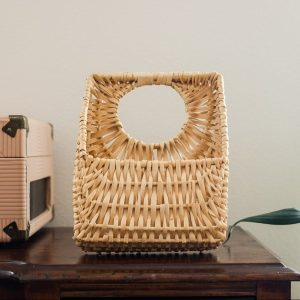 wicker mail letter holder-South by PNW Vintage