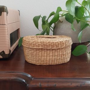 lidded seagrass basket - South by PNW Vintage