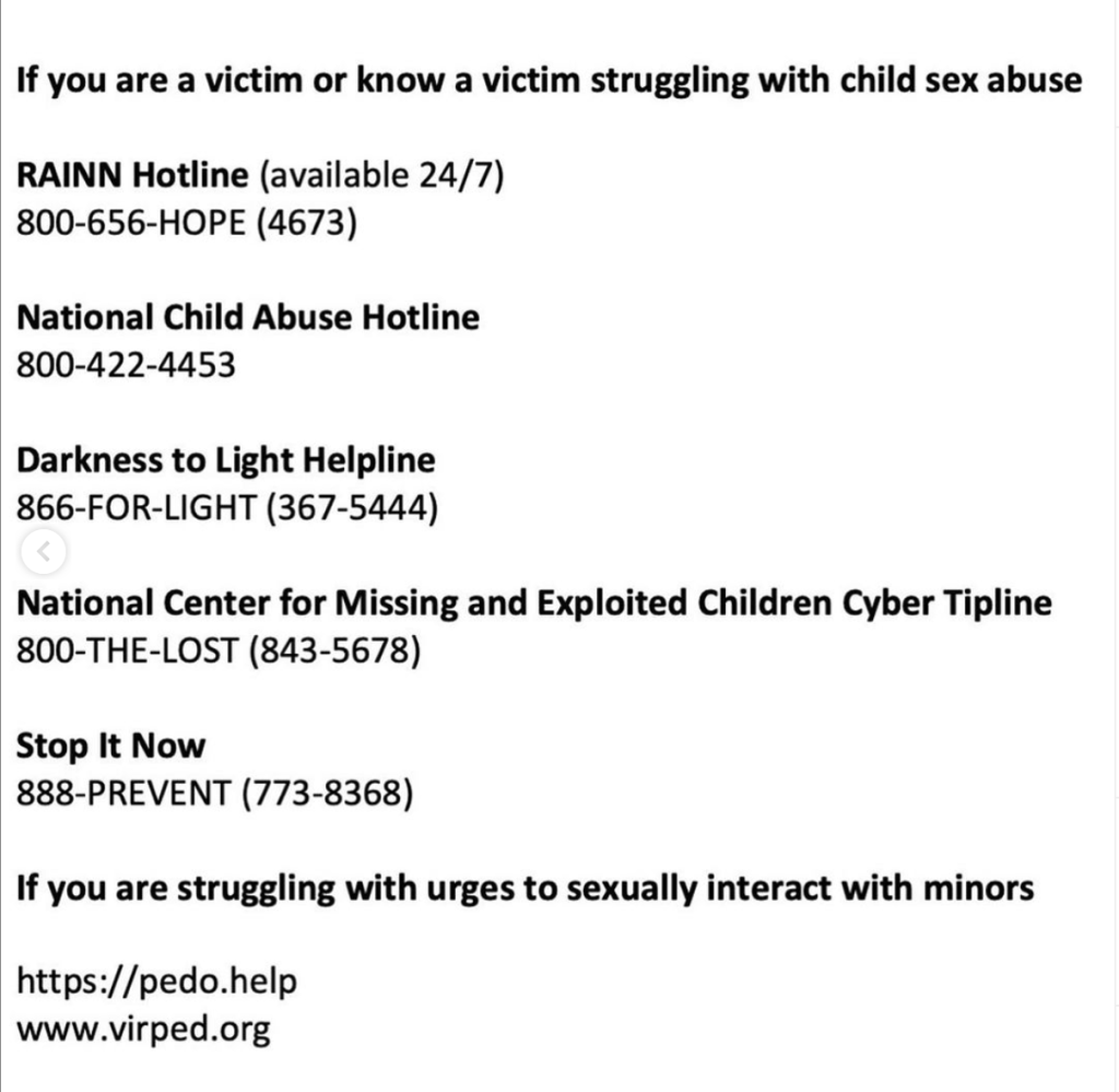 Resources for Victims of Sex Abuse