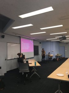 A picture of me giving my lightning talk at the iSchool