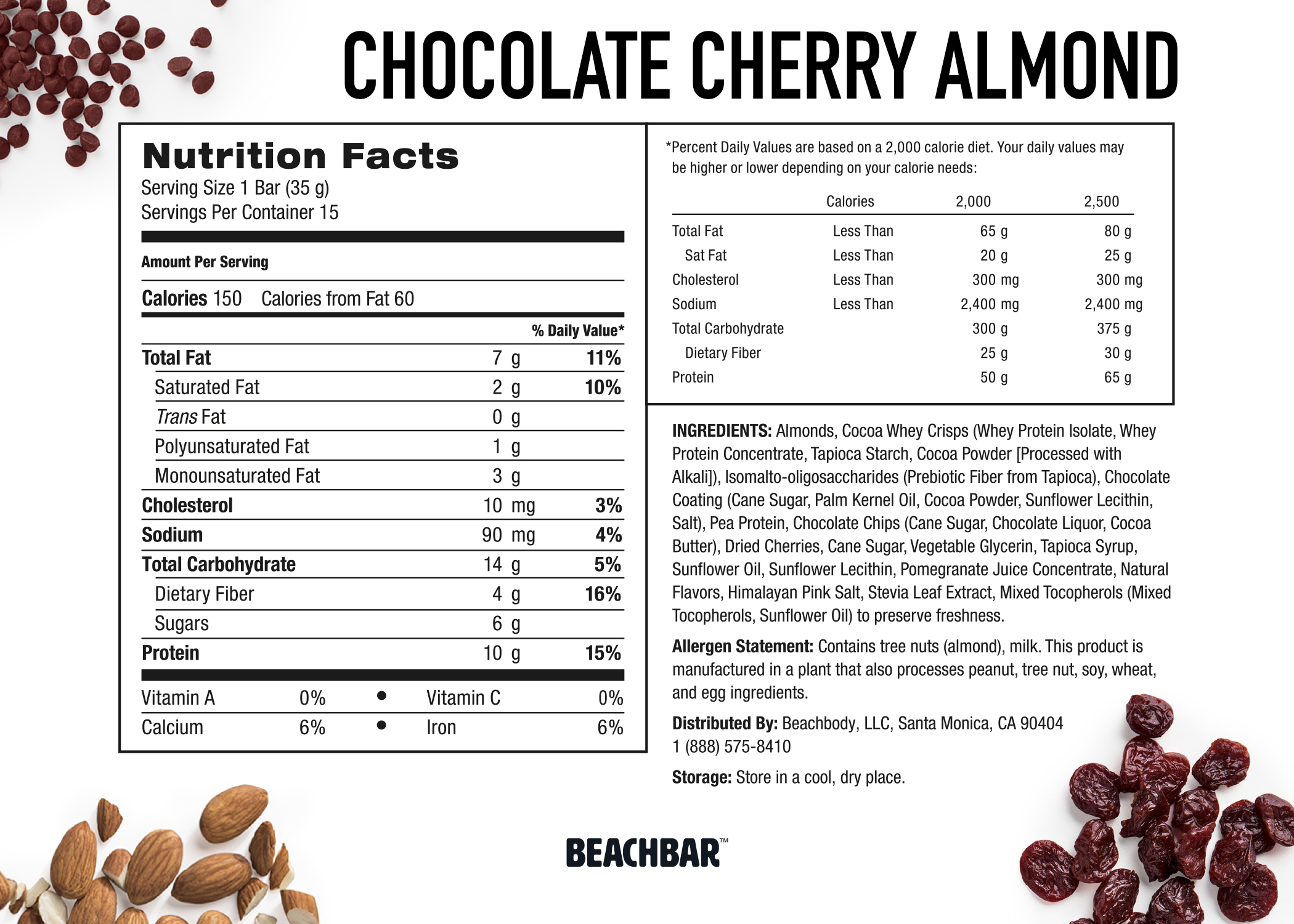 Beachbody BEACHBAR Chocolate Cherry Almond Nutriton Label