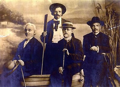 Mendele Mocher Seforim, Sholem Aleichem, Ben-Ami, Haim Nachum Bialik (from Wikimedia Commons)