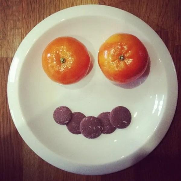 orange chocolate fruit face