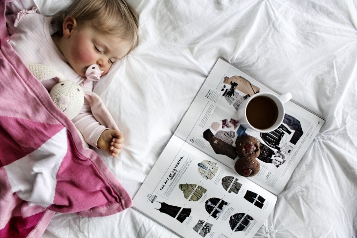 sleeping-baby-mother-relaxing-lactation-cookies-breastfeeding-tea
