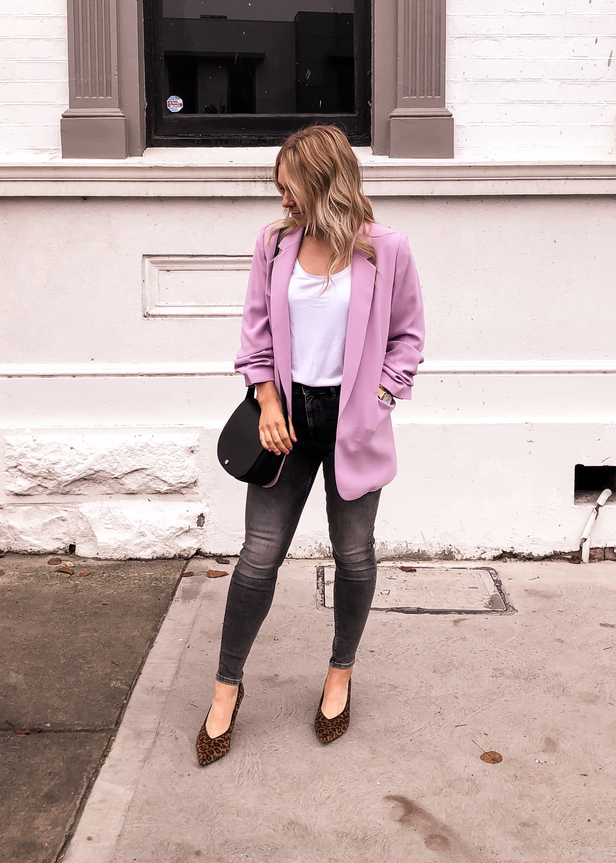 Ruched Sleeve Lilac Blazer to add to your wardrobe this season
