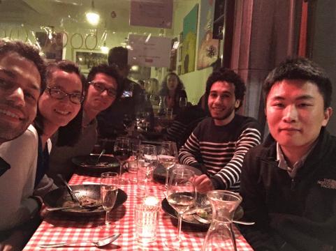 Dinner with Fan Yang, Karim Barigou, Hamza Hanbali and Ze Chen, Leuven, Belgium, December 2016