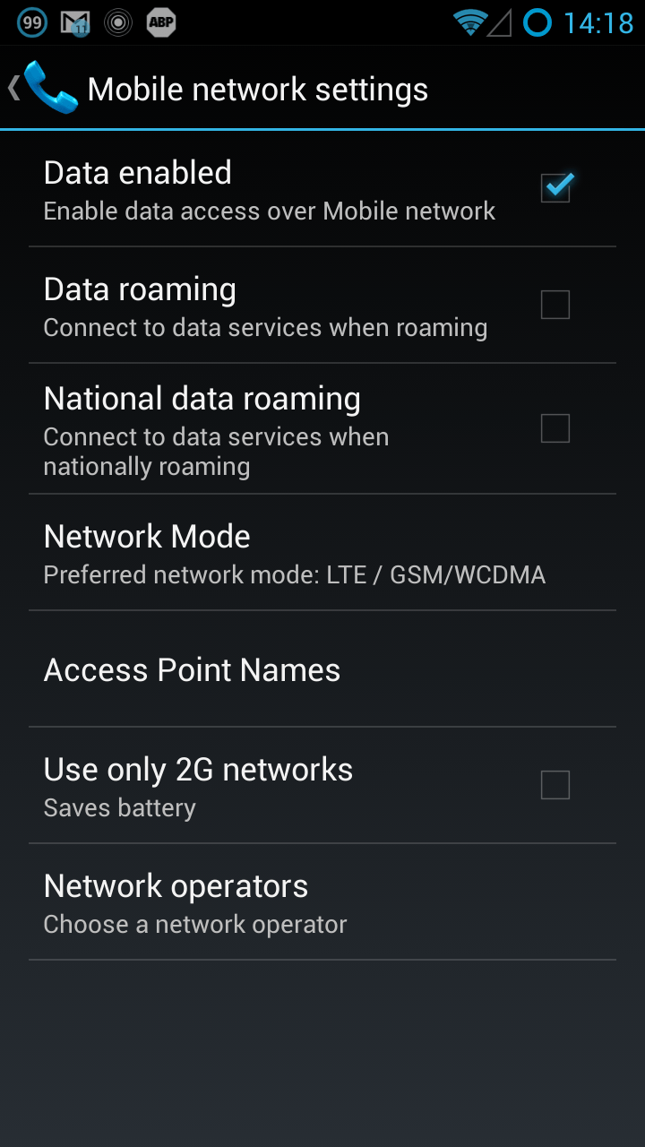 samsung s3 how to turn on roaming