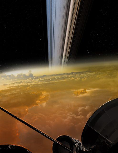 Otra representación del final de Cassini (NASA/JPL-Caltech).