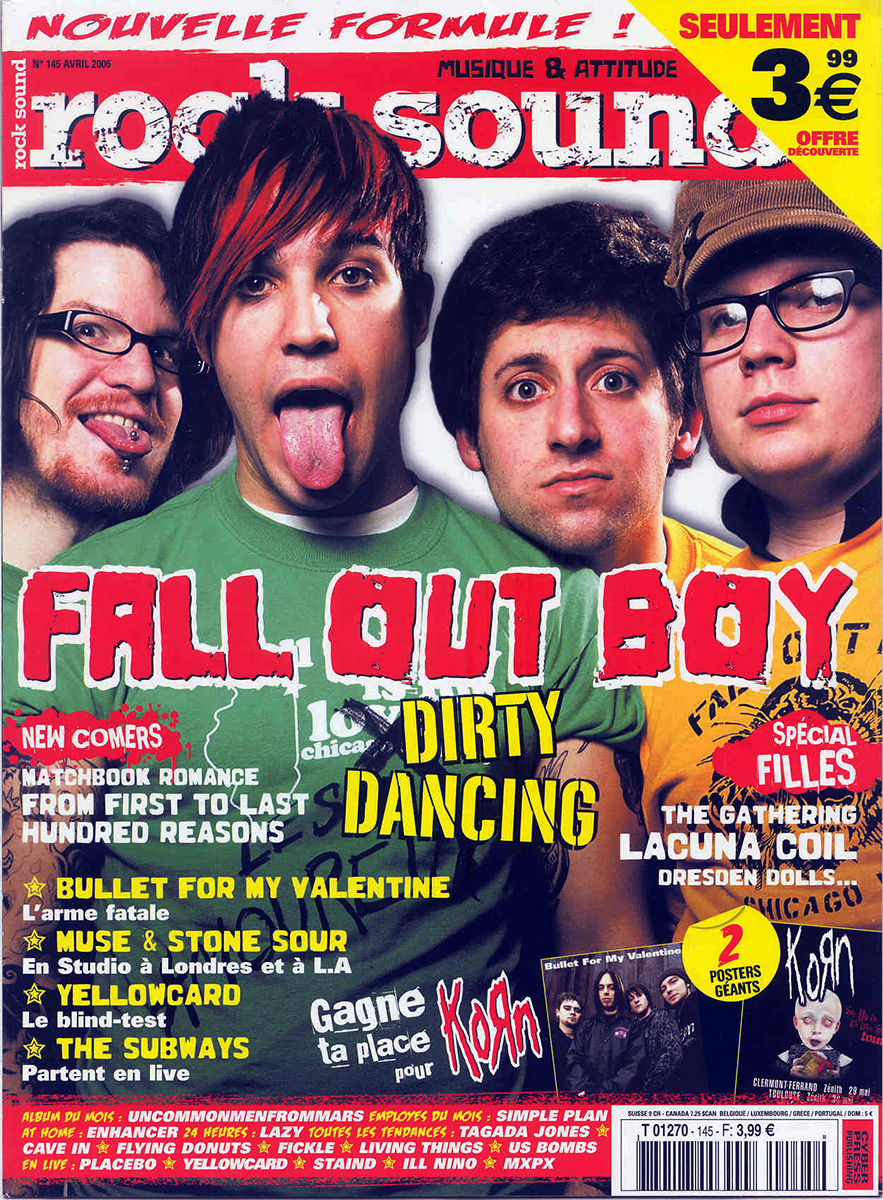 Fall Out Boy en couverture du magazine Rocksound