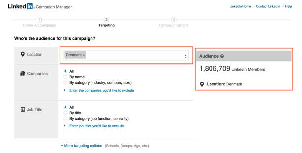 Antal danskere på LinkedIn i marts 2015