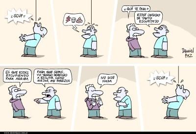 """escupir hacia arriba"" por Daniel Paz"