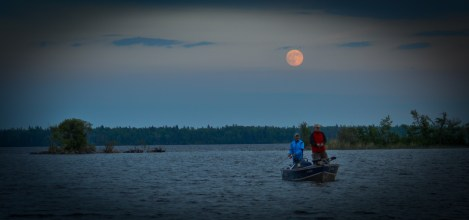 Fishing in the moolight, Lake St. George, MB