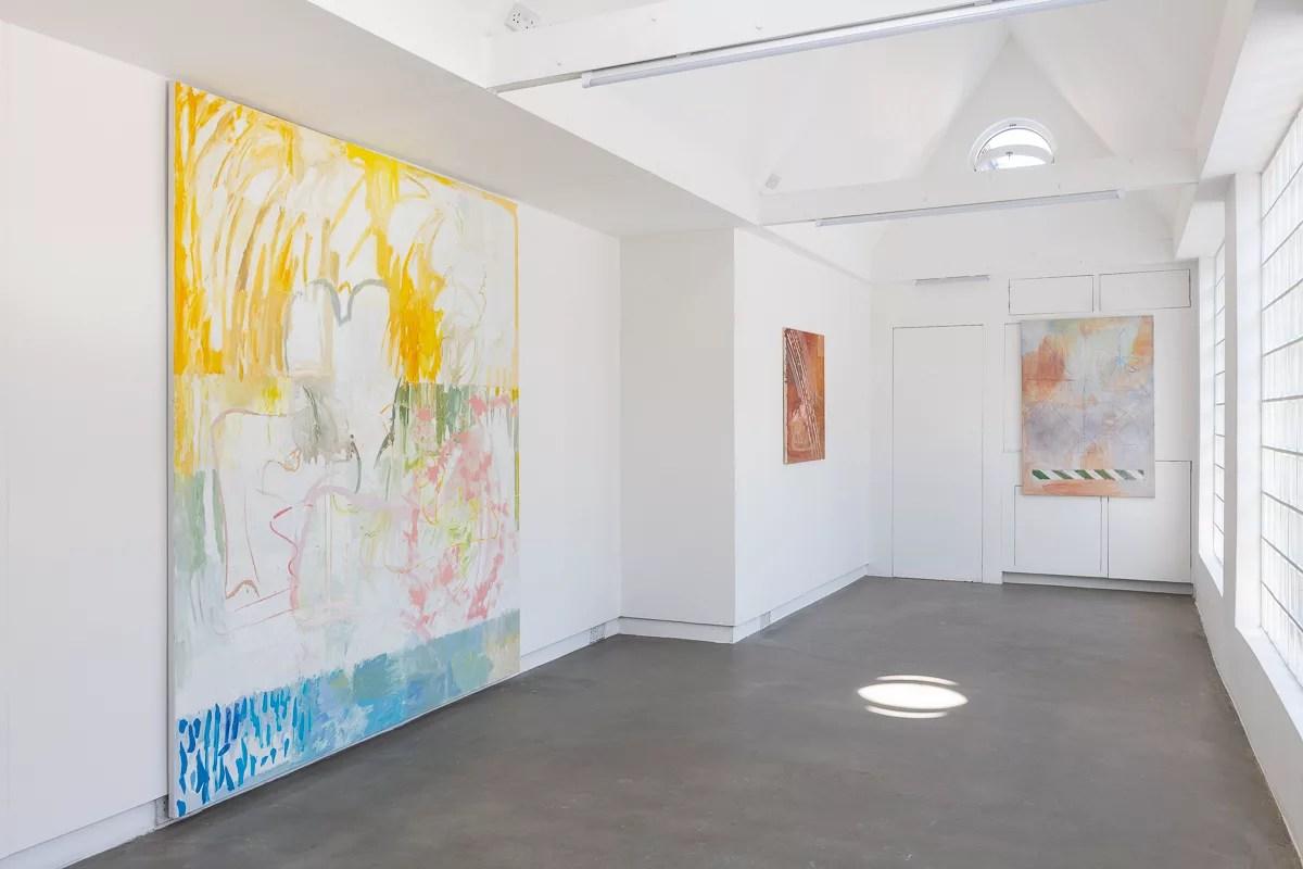 An installation shot of Daniel Pettitt's paintings at the PALFREY gallery in London
