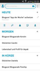 Bei Klick auf die Tasks erscheinen die Sonderfunktionen (Priorität, Suche, Reminder, Notiz, weitere Teilnehmer).