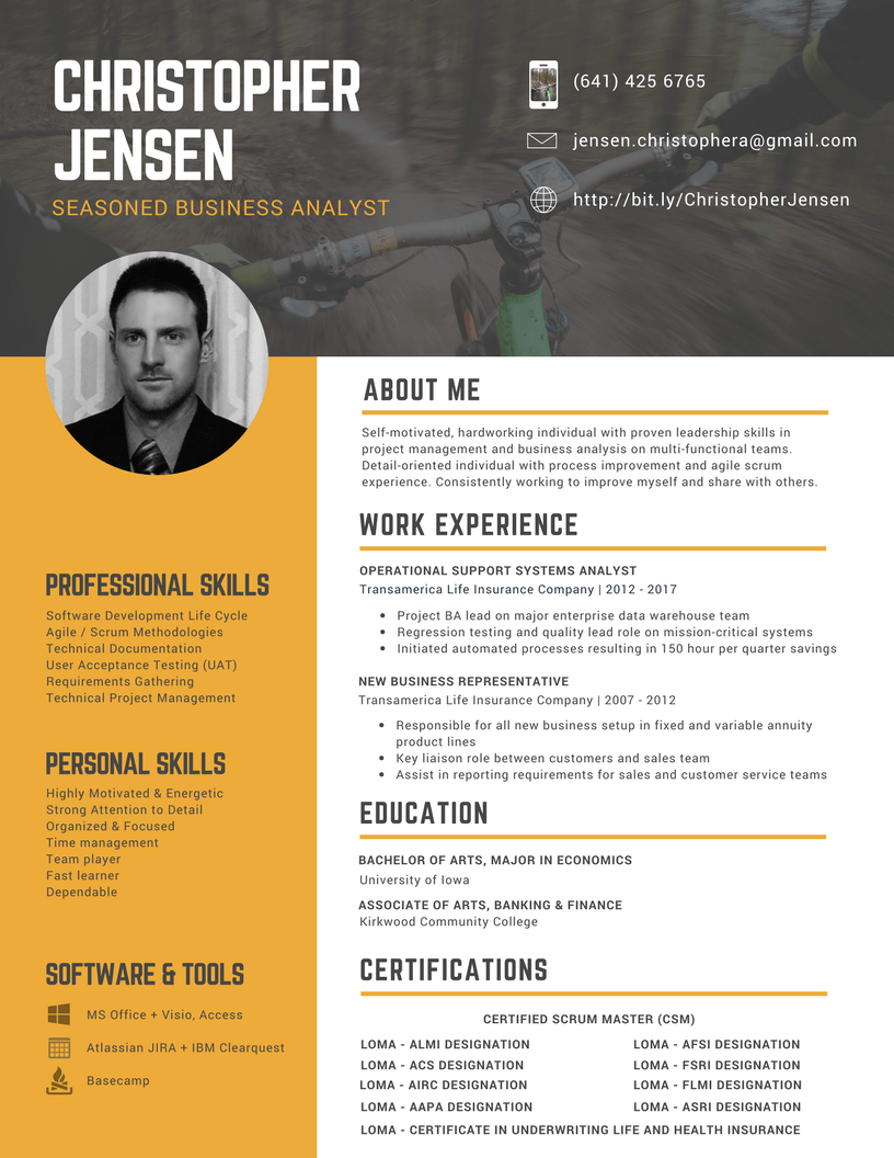 Christopher Jensen Business Analyst Resume 2017