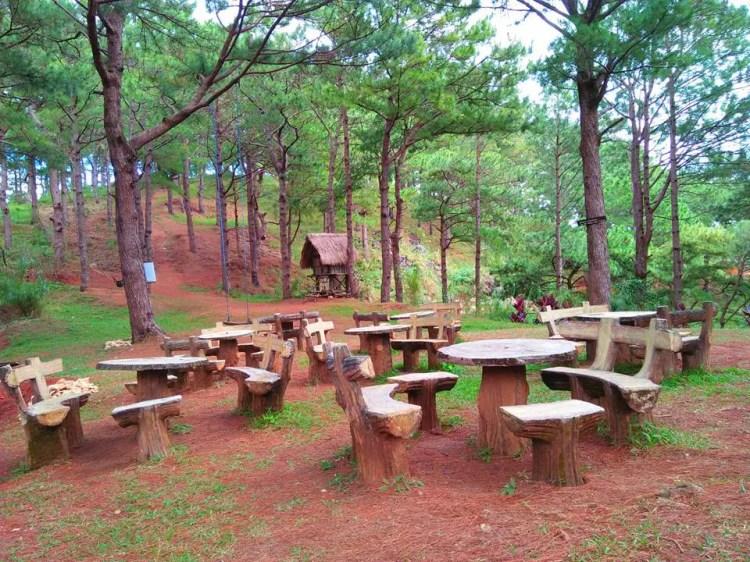 Picnic tables atop Mt Kalugong
