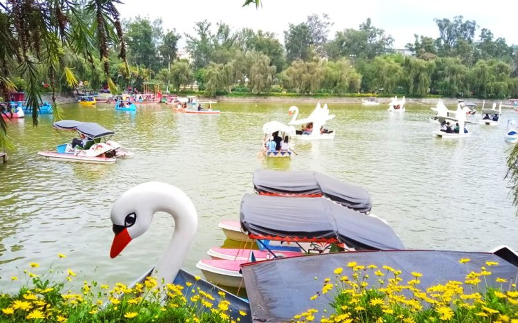 The man-made lake in Burnham Park.