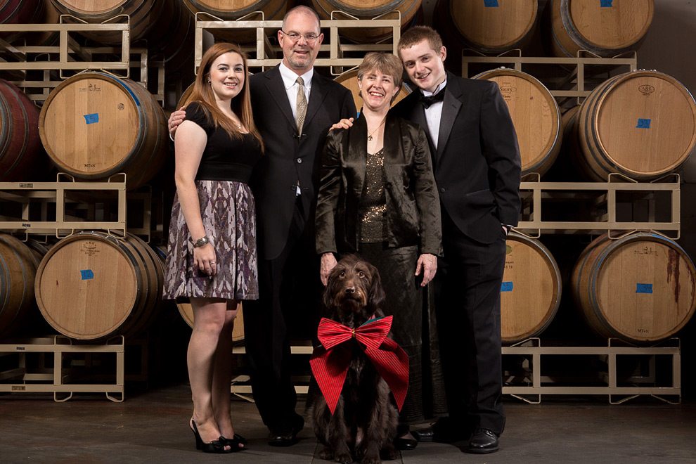 Family portrait at a winery