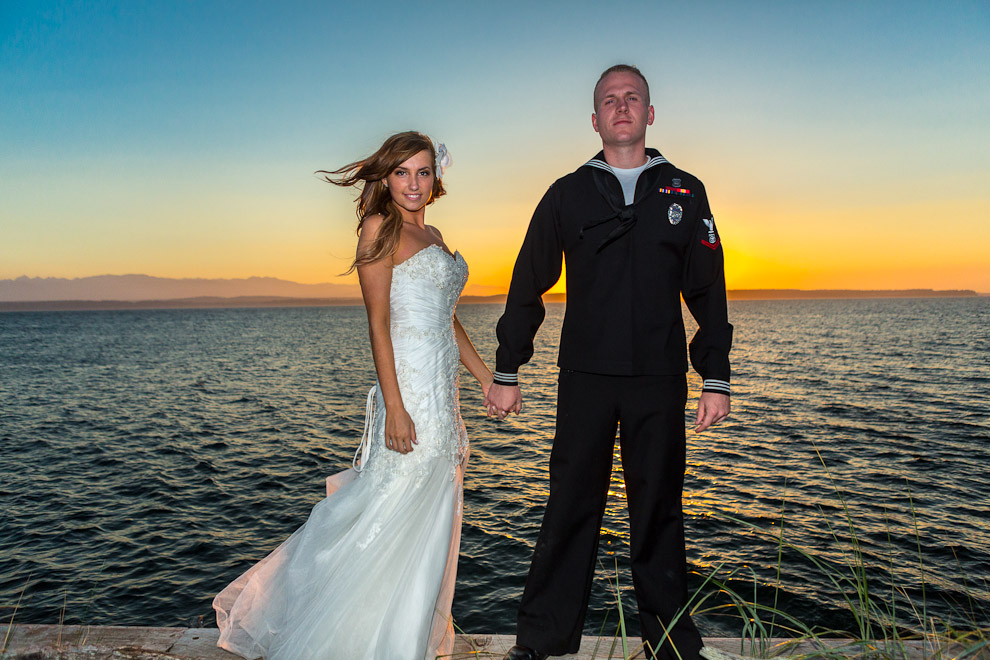 Navy Sailor and his bride at wedding on Whidbey Island, WA