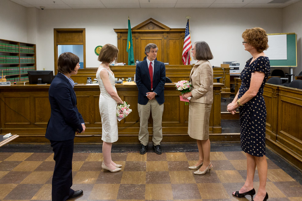 Lesbian wedding ceremony in a Seattle courtroom