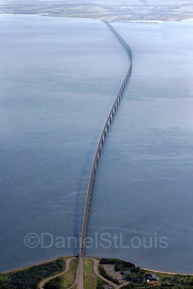 Aerial photo of the Confederation Bridge, PEI.