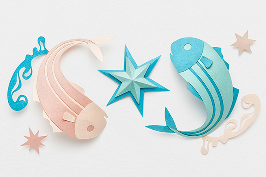 Creative and beautiful Pisces star signs made out of paper
