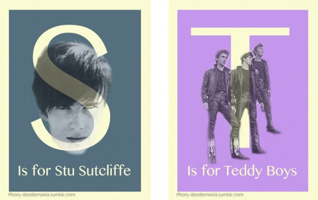 An alphabet poster series inspired by The Beatles: S T