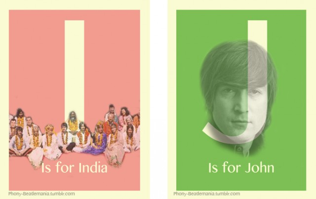 An alphabet poster series inspired by The Beatles: I J