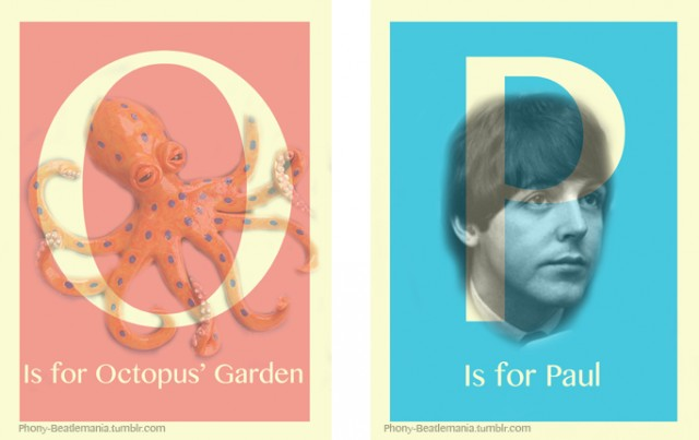 An alphabet poster series inspired by The Beatles: O P